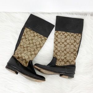 COACH Chrissi Signature Monogram Riding Boots
